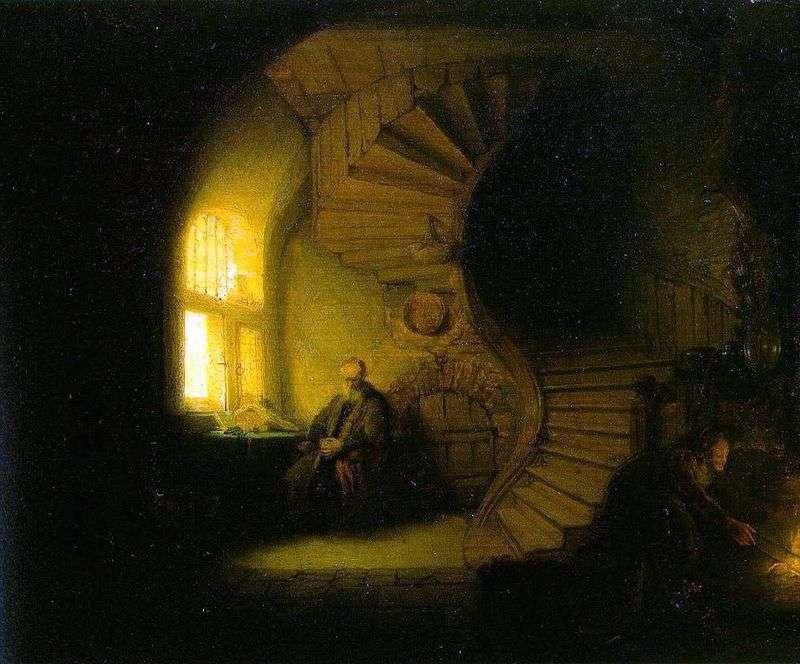 Filozof medytujący w swoim pokoju   Rembrandt Harmens Van Rhine