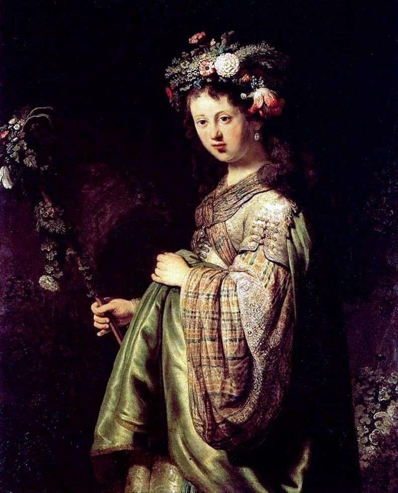 Saskia (Flora)   Rembrandt Harmens Van Rhine