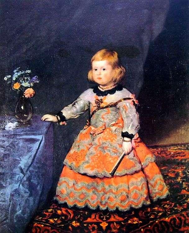 Portret infantki Margarity w czerwonej sukience   Diego Velasquez