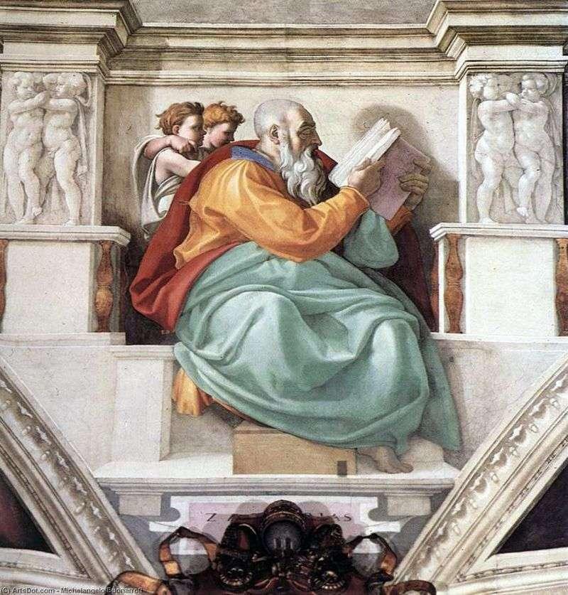 Prorok Zachariasz, Ojciec Jana Chrzciciela (Fresco)   Michał Anioł Buonarroti