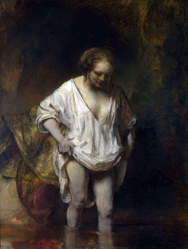 Kąpielowa kobieta (Hendrickje, wchodząc do rzeki)   Rembrandt Harmens Van Rhine