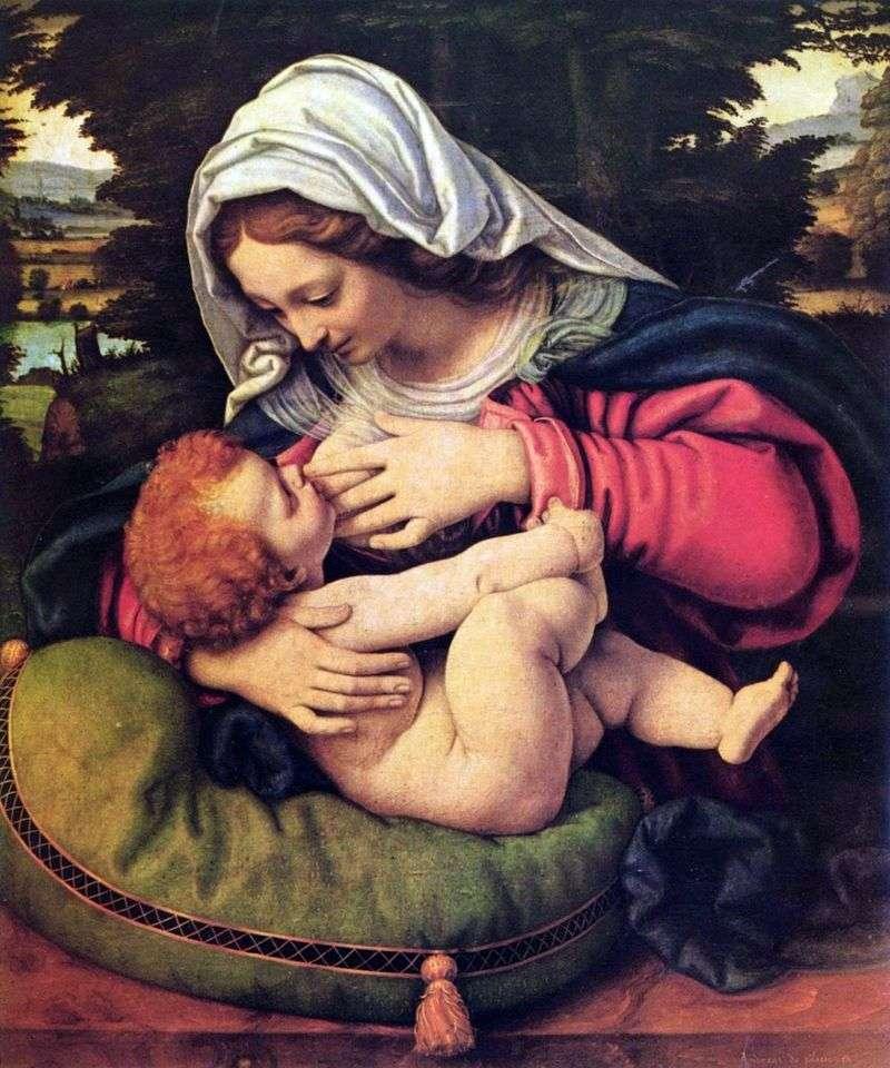 Madonna z zieloną poduszką   Andrei Solario