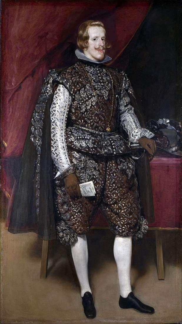Portret Philipa IV w brązowym i srebrnym kostiumie   Diego Velasquez