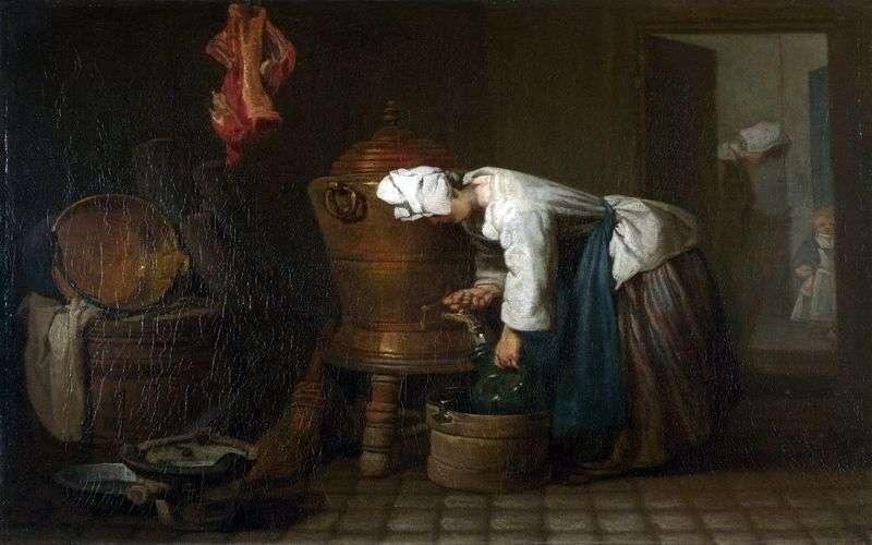 Kobieta wylewająca wodę ze zbiornika   Jean Baptiste Simeon Chardin