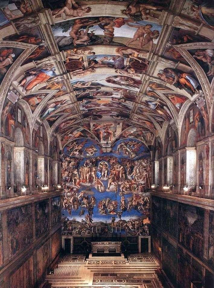 Wnętrze Kaplicy Sykstyńskiej   Michelangelo Buanarrotti