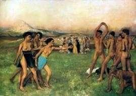 Spartańskie dziewczyny są prowokowane przez chłopców   Edgara Degasa