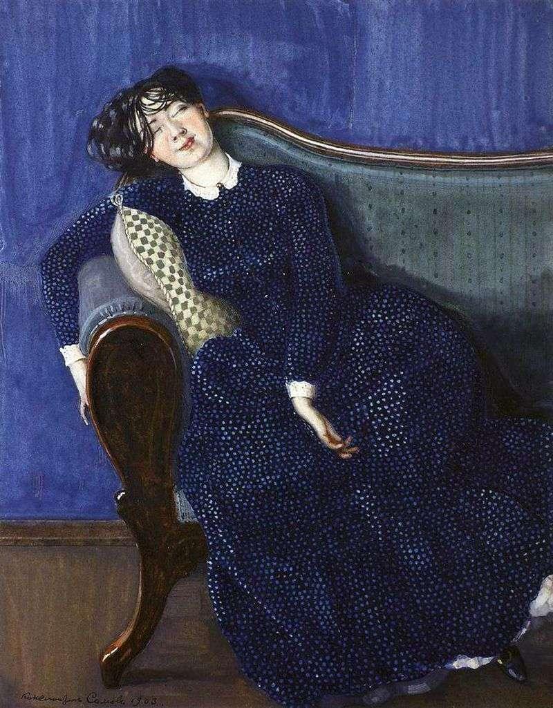 Śpiąca kobieta w niebieskiej sukience   Konstantin Somov