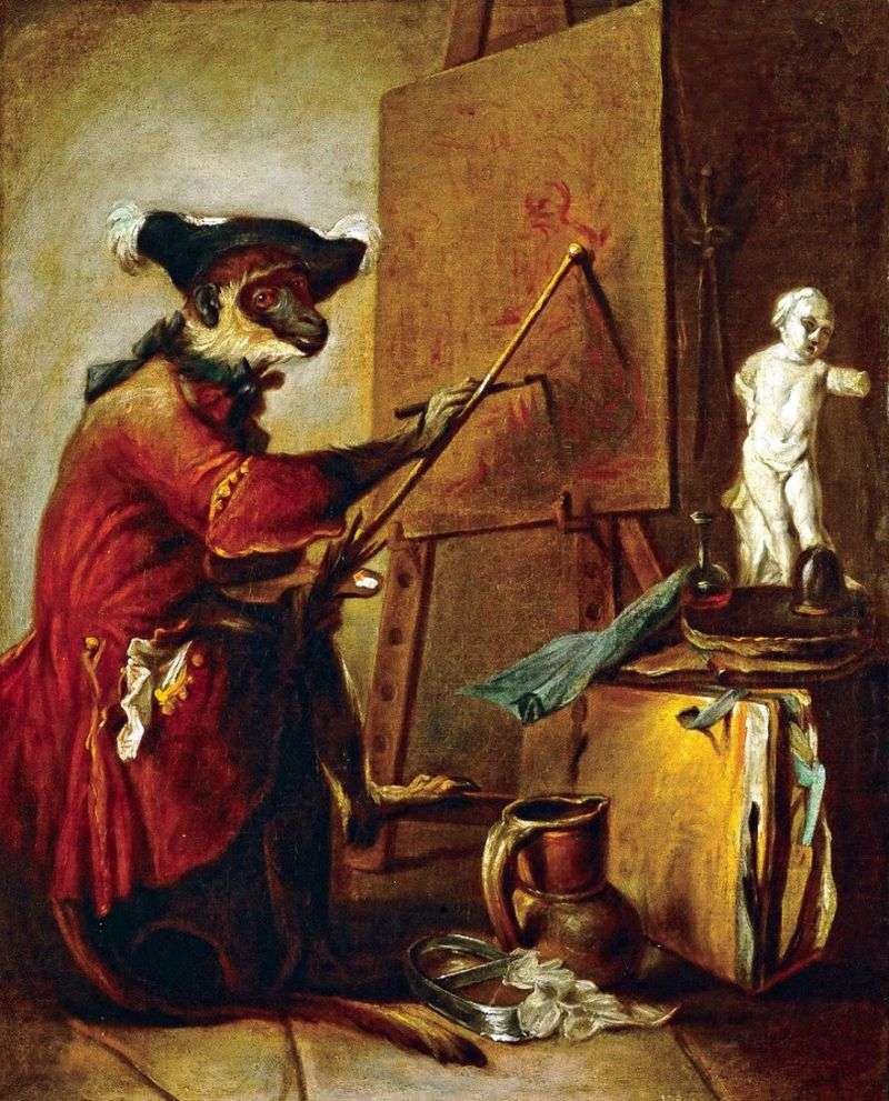 Monkey Artist   Jean Baptiste Simeon Chardin