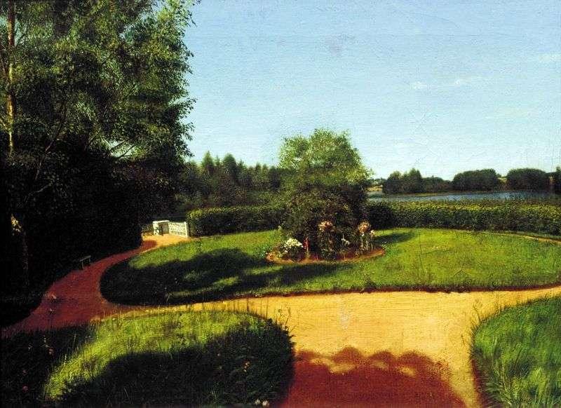 Widok frontowego ogrodu na terenie osiedla N. P. Milyukov Ostrovki   Grigory Soroka