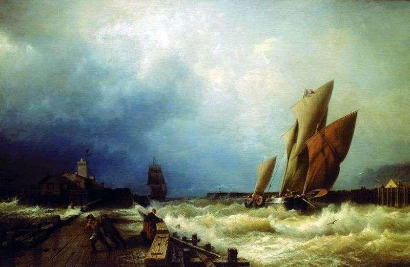 Wejście statku rybackiego do burzy w porcie Saint Valery w Co   Alexei Bogolyubov