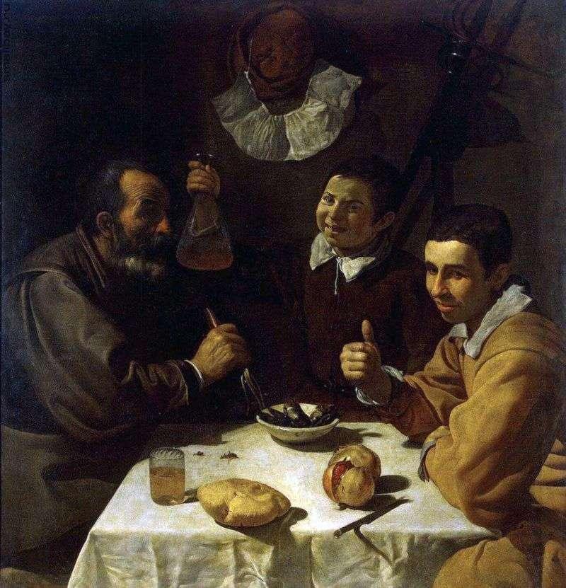 Trzech mężczyzn przy stole   Diego Velasquez