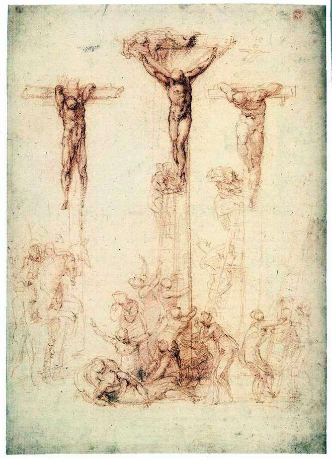 Etiuda z trzema krzyżami   Michelangelo Buonarroti