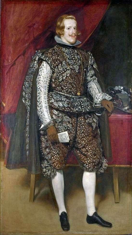 Philip 4 Hiszpański w kolorze brązowym i srebrnym   Diego Velasquez