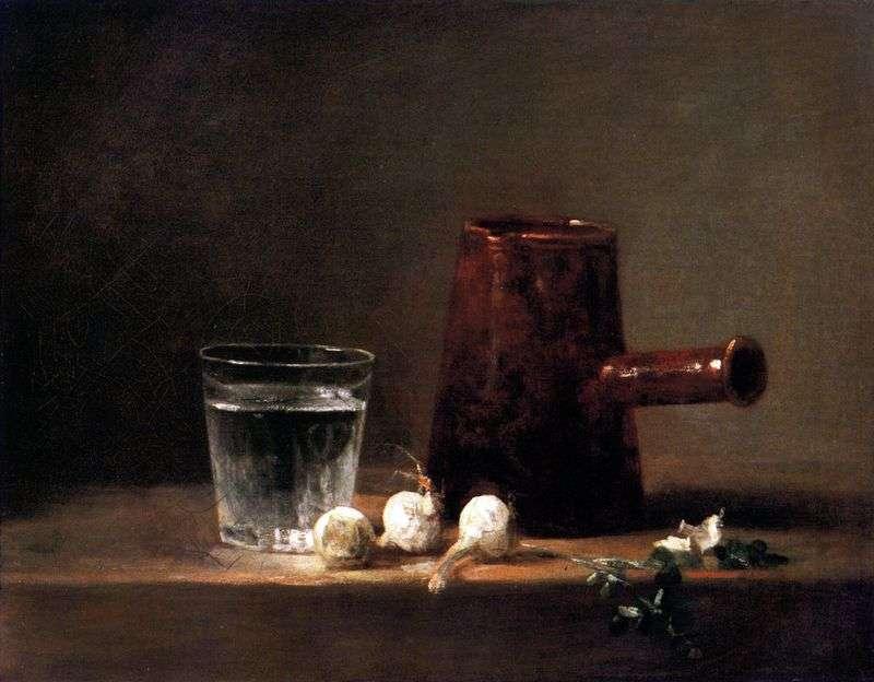 Szklanka z wodą i dzbankiem   Jean Baptiste Simeon Chardin