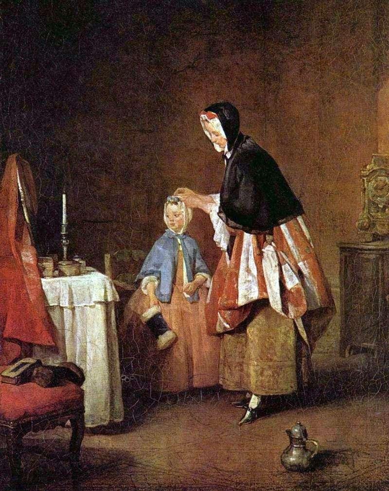 Poranna toaleta   Jean Baptiste Simeon Chardin