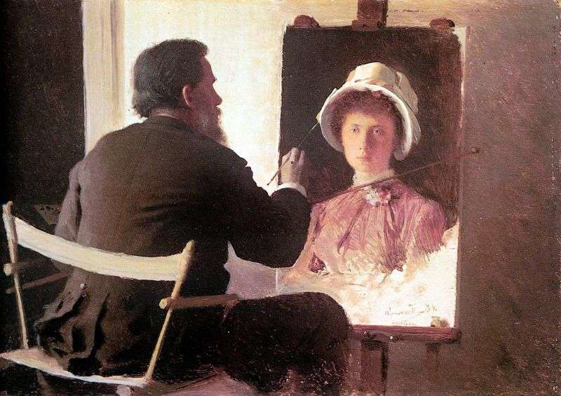 Kramskoy, pisząc portret swojej córki   Iwana Kramskoja