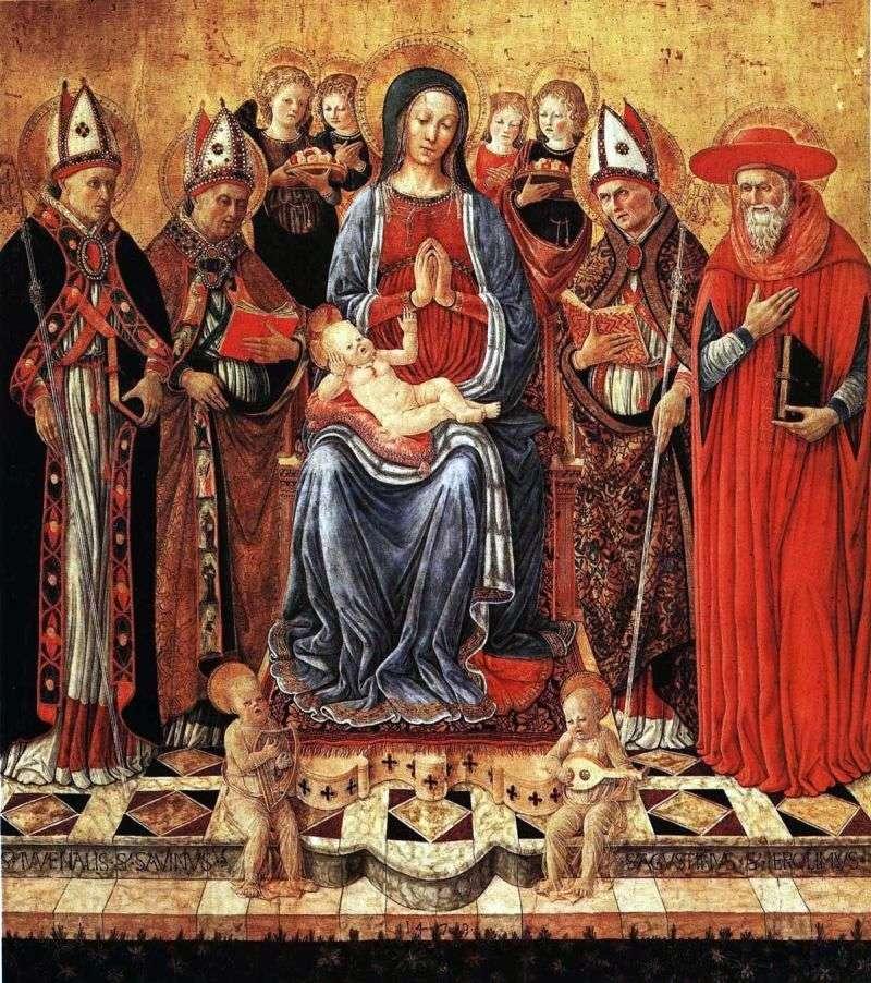 Maryja z dzieckiem na tronie, otoczona świętymi Juvenalius, Sabine, Augustine, Jerome i sześcioma aniołami   Giovanni Boccati