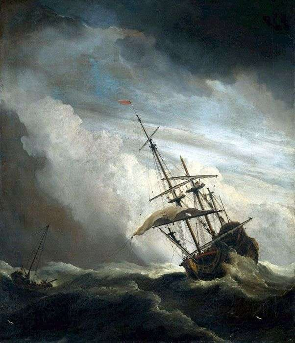 Statek na otwartym morzu   Willem van de Velde