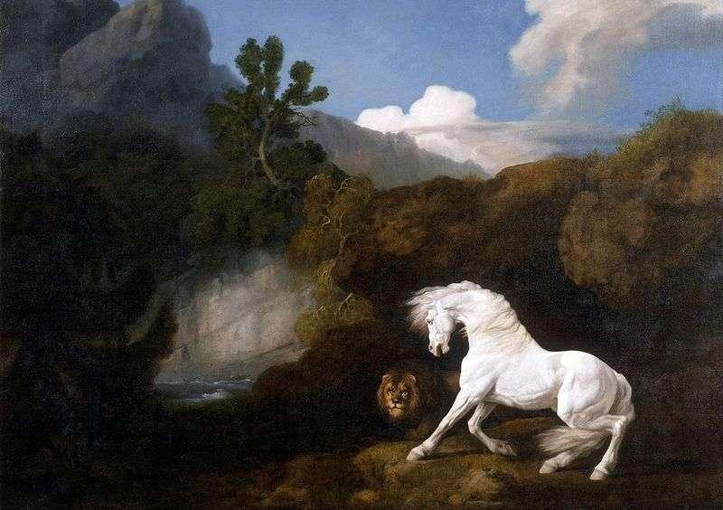 Biały koń, przestraszony przez lwa   George Stubbs