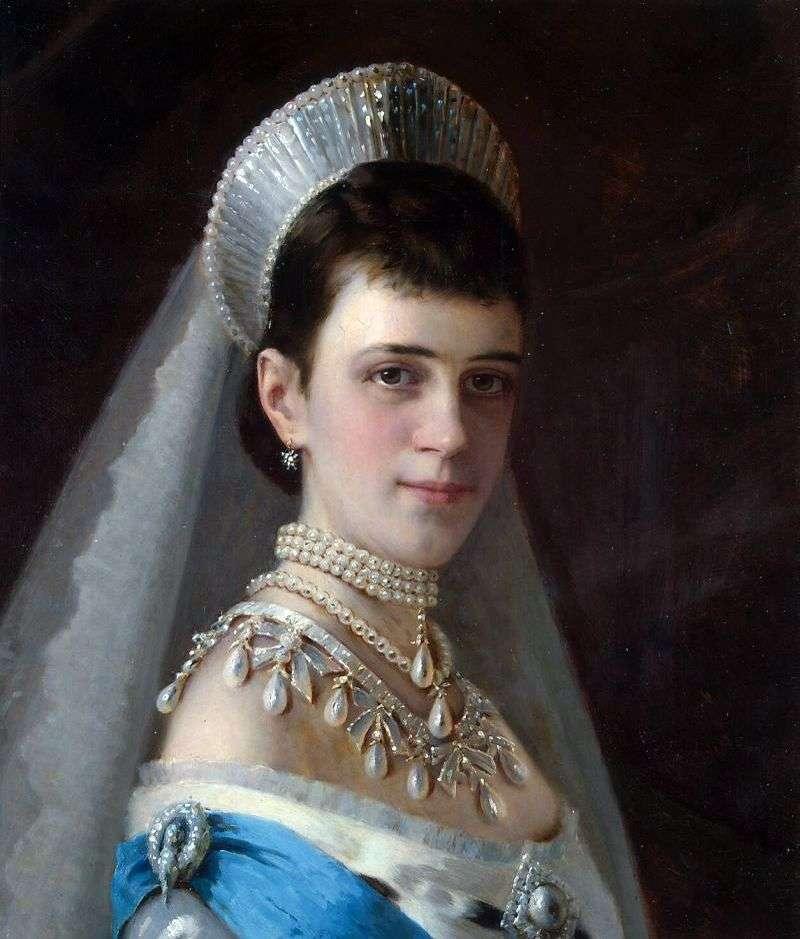 Portret cesarzowej Marii Fiodorowna w perłowym kapeluszu   Iwana Kramskoja