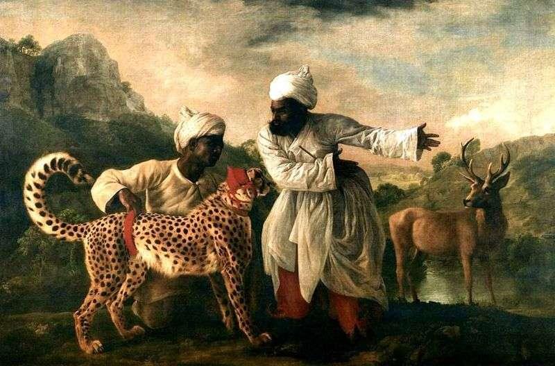 Gepard i jeleń z dwoma Indianami   George Stubbs