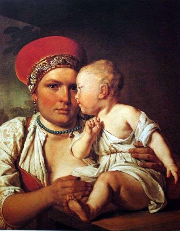 Pielęgniarka z dzieckiem   Alexey Venetsianov