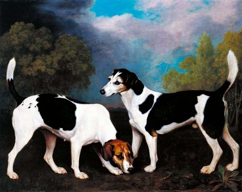 Pejzaż z psami myśliwskimi   George Stubbs