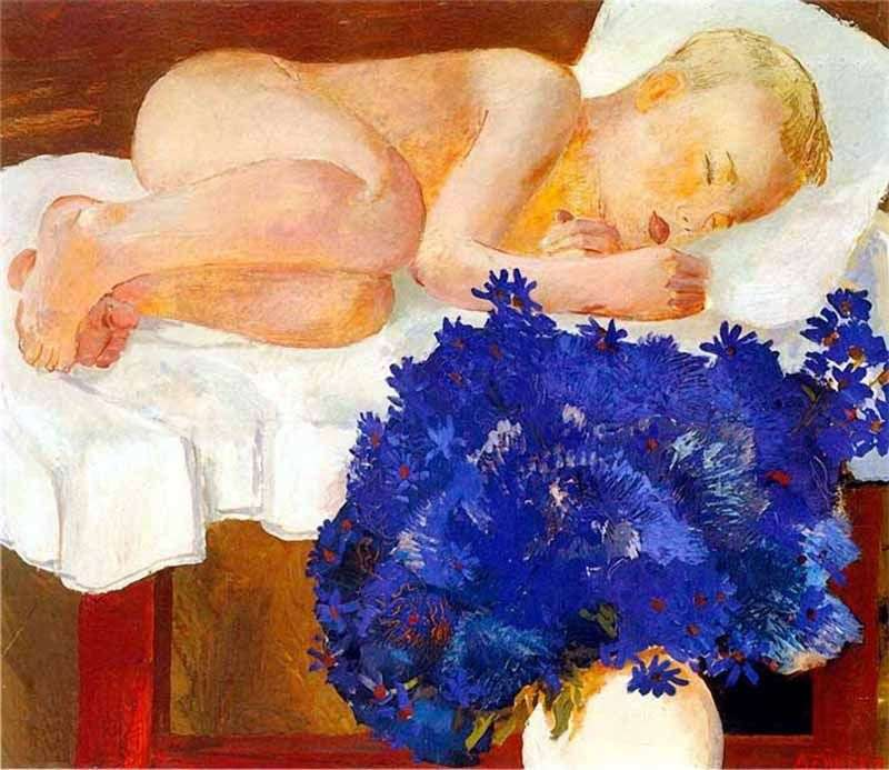 Śpiące dziecko z chabrami   Alexander Deineka