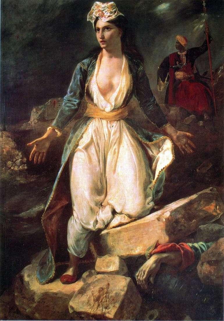 Grecja na ruinach Missolungi   Eugene Delacroix