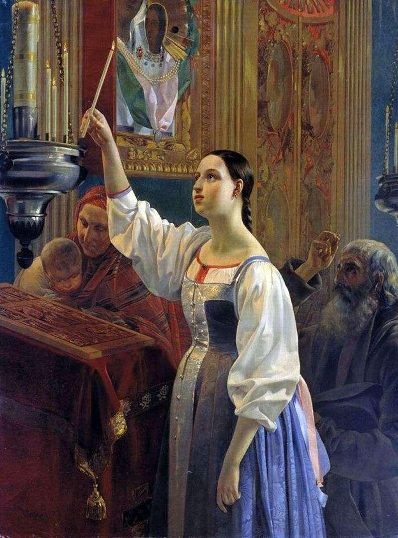 Dziewczyna stawia świeczkę przed obrazem   Grigorij Michajłow