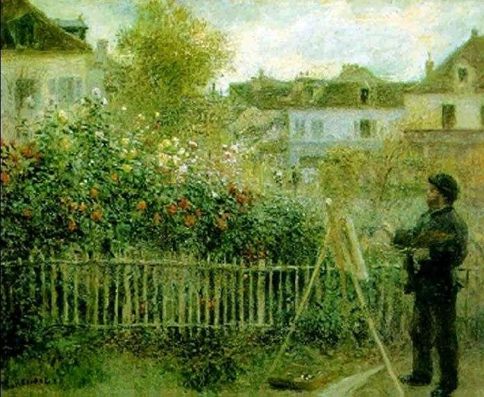 Claude Monet pracuje w swoim ogrodzie   Pierre Auguste Renoir