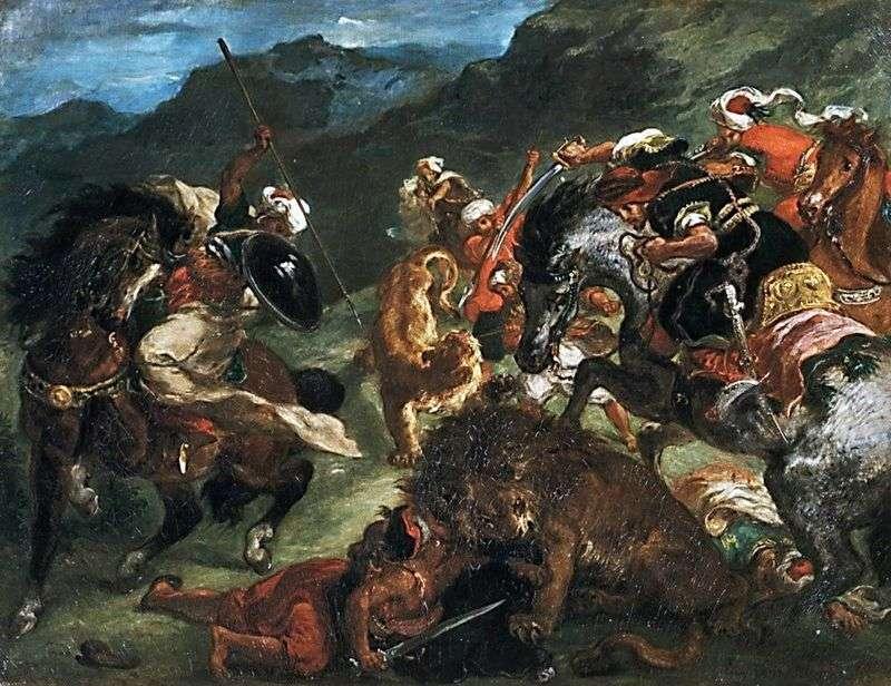 Polowanie na lwy   Eugene Delacroix