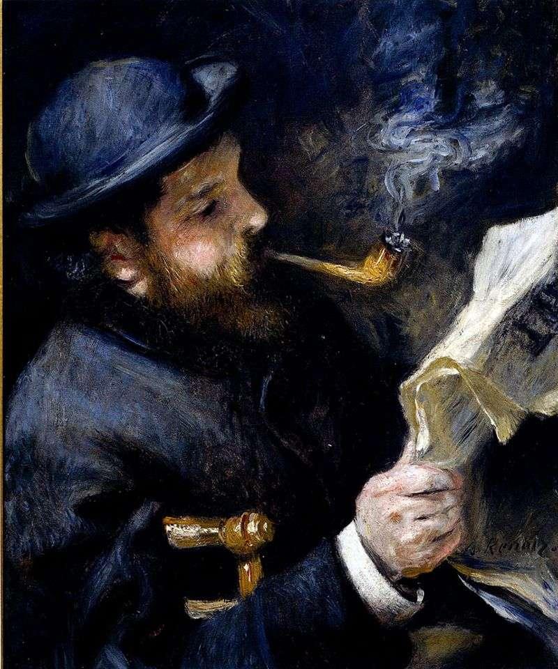 Monet czyta   Pierre Auguste Renoir