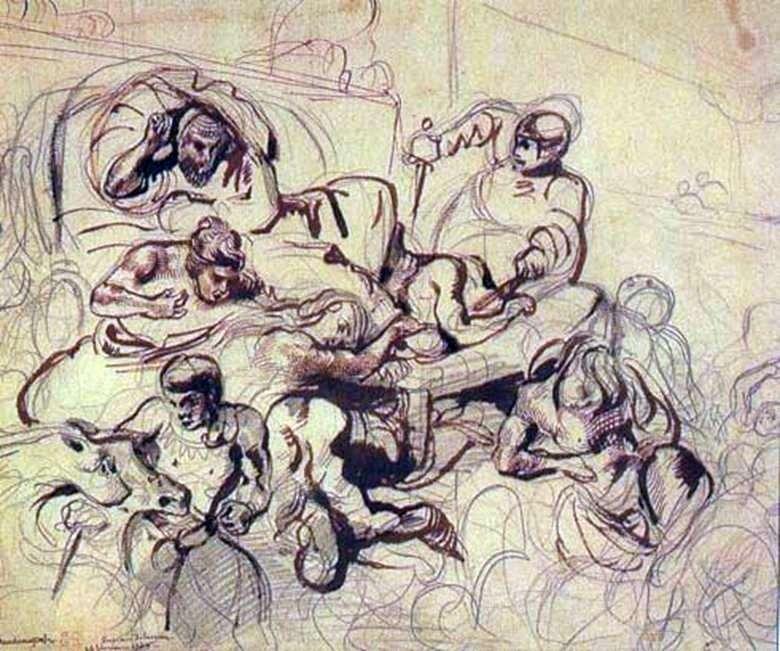 Szkic do obrazu Śmierć Sardanapala   Eugene Delacroix