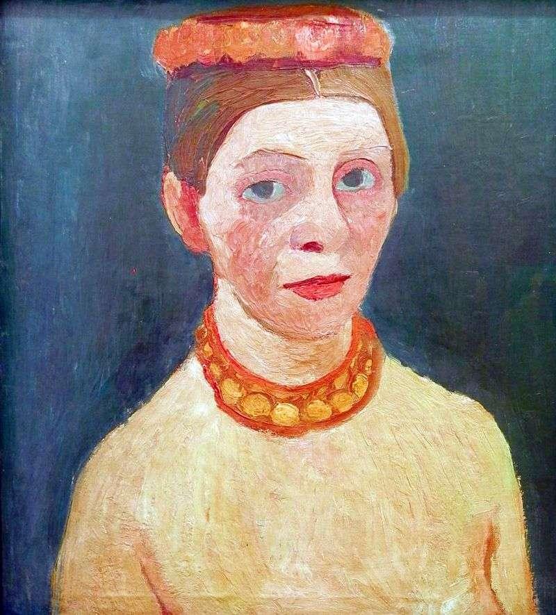 Autoportret z czerwonym wiankiem i łańcuszkiem   Paula Modersohn Becker