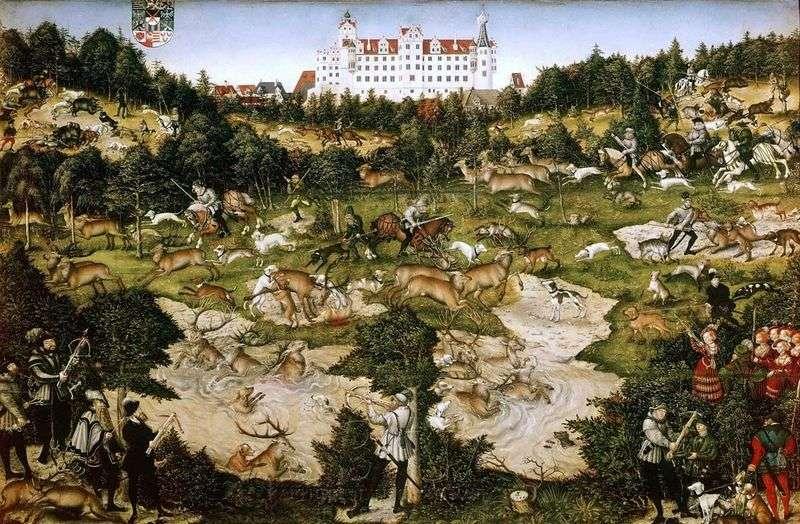 Polowanie na jelenia króla Karola V w pobliżu Zamku Torgau   Lukas Cranach