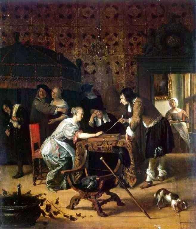 Gracze w backgammona   Jan Steen