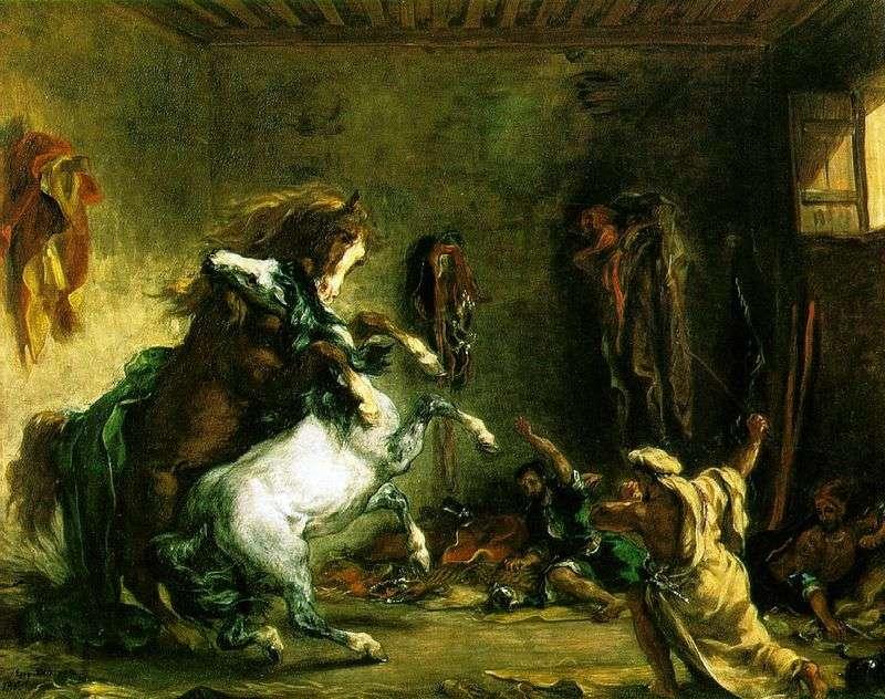 Walka z końmi arabskimi   Eugene Delacroix