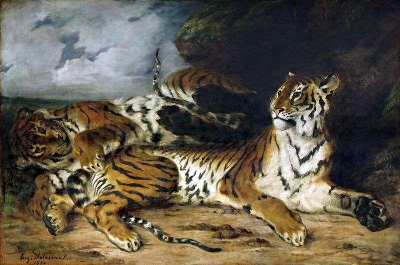Tiger Cub gra z matką   Eugene Delacroix