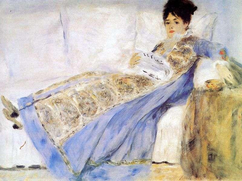 Portret żony Claudea Moneta na kanapie   Pierre Auguste Renoir