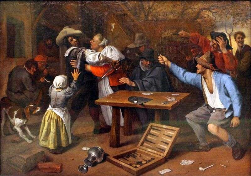 Spór o grę karcianą   Jan Steen