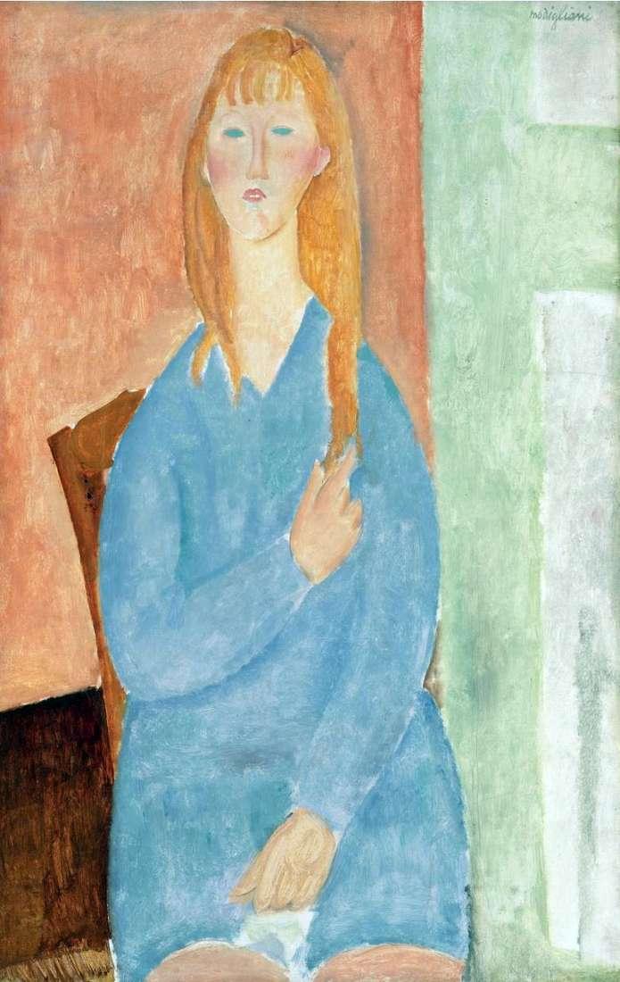 Dziewczyna w niebieskiej sukience   Amedeo Modigliani
