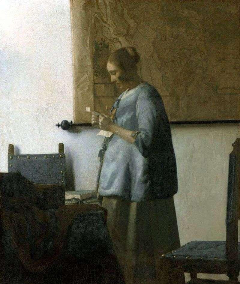 Pani na niebiesko czytająca list   Jan Vermeer