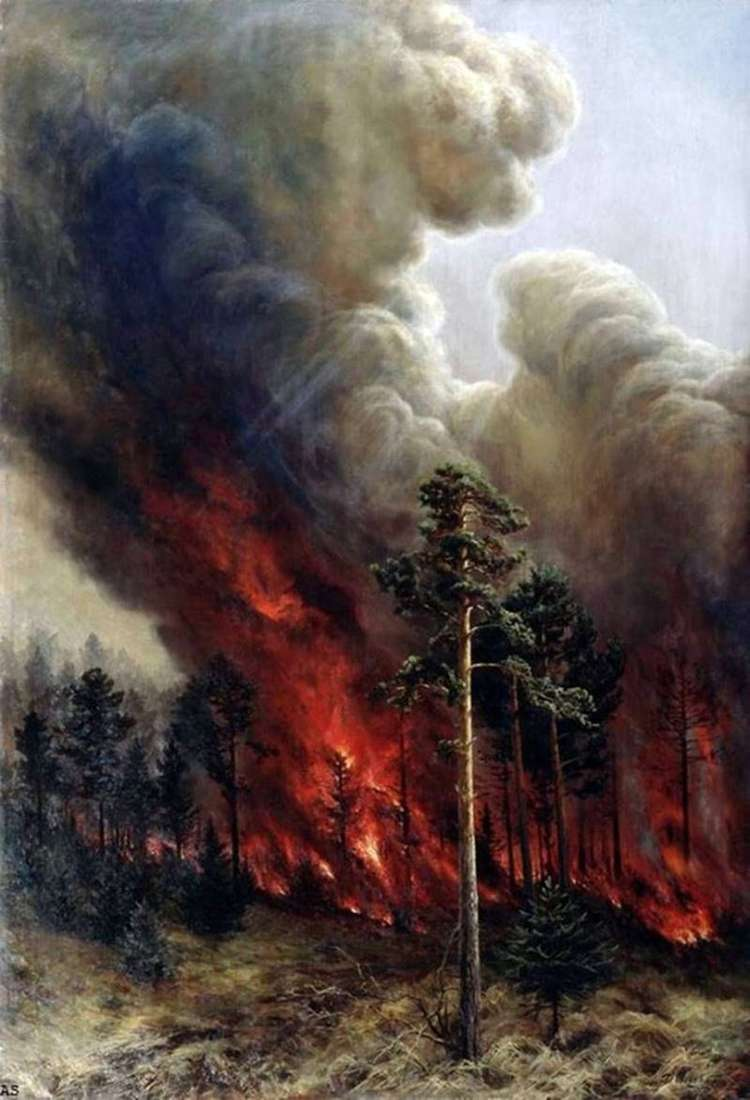 Pożar lasu   Alexey Denisov Uralsky