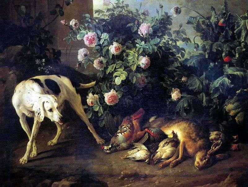 Martwa natura z psem i gra w nietoperza w róży   Francois Deport