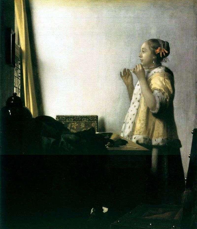 Dziewczyna próbuje na naszyjnik   Jan Vermeer