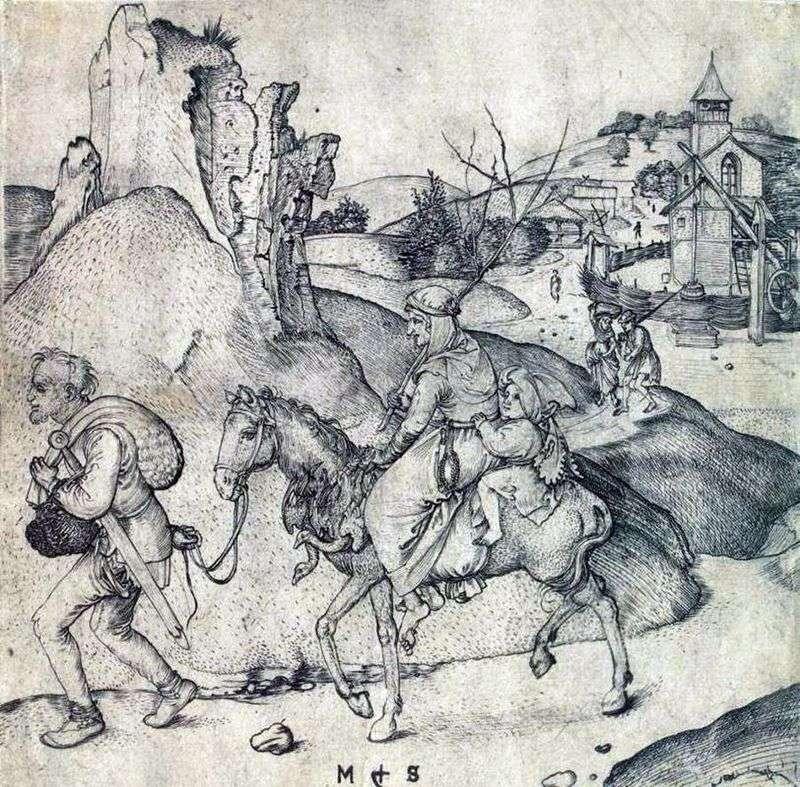 Chłopska rodzina w drodze na rynek   Martin Schongauer