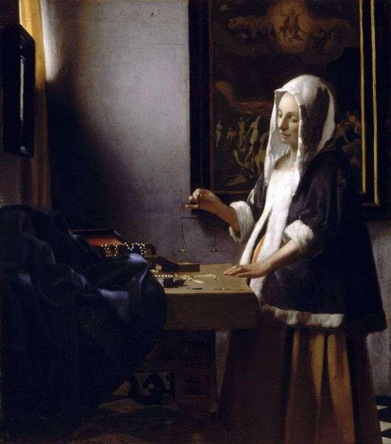 Kobieta zajęta ciężarkami   Jan Vermeer