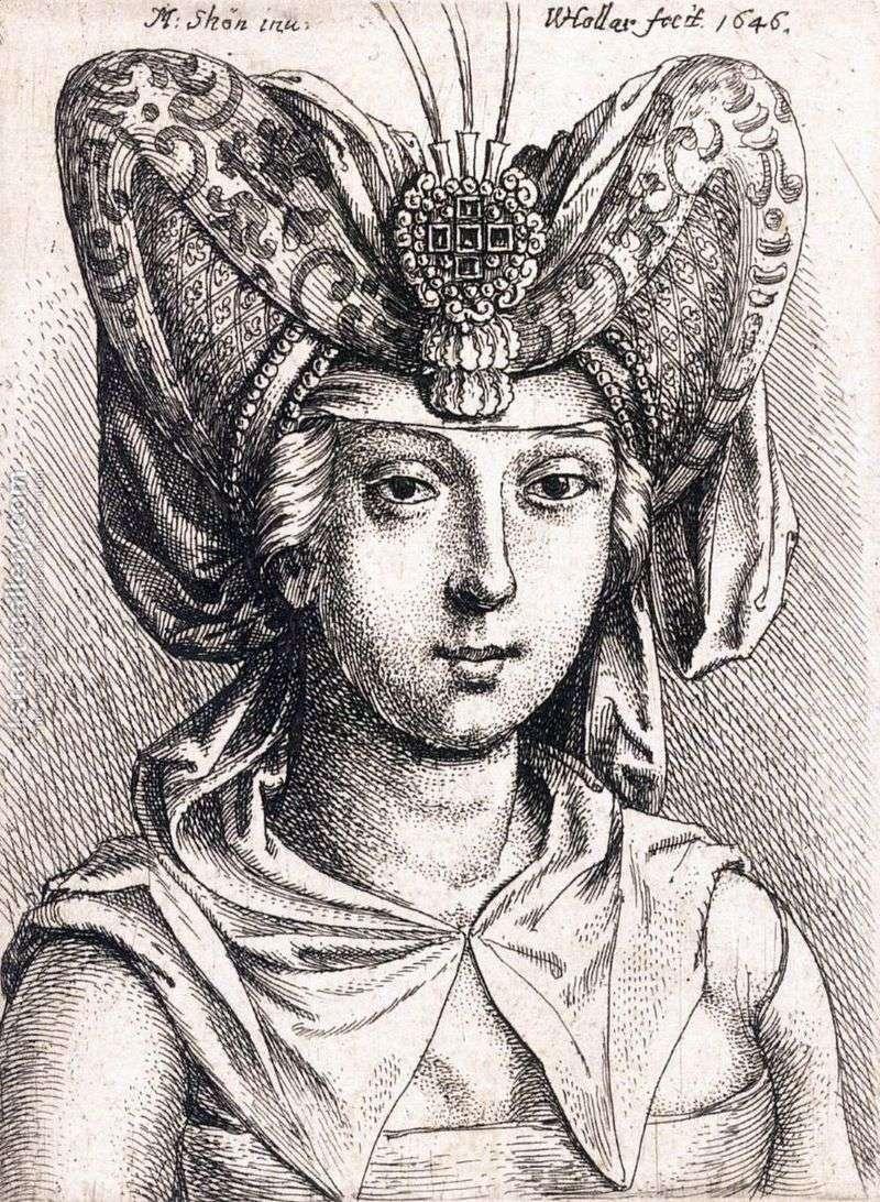 Portret młodej kobiety w turbanie   Martin Schongauer