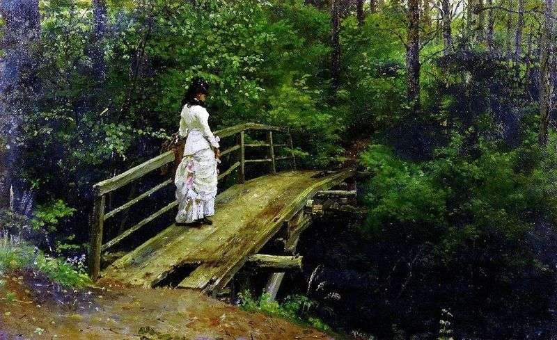 Vera Repin na moście w Abramcewie   Ilya Repin
